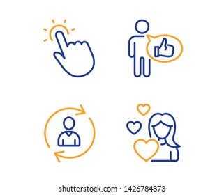 Person info, Touchpoint and Like icons simple set. Love sign. Refresh user data, Touch technology, Thumbs up. Woman in love. People set. Linear person info icon. Colorful design set. Vector