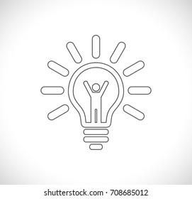 person inside lightbulb - concept business icon
