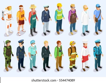 Person isometric collection with man of different professions and jobs isolated vector illustration