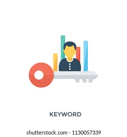 A person with key and graphs representing keyword research