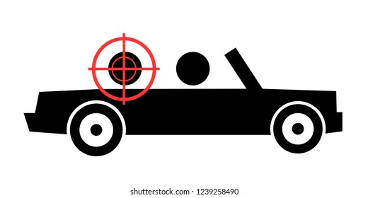 Person is killed and assassinated in the cabriolet and convertible car by shot from gun. Vector illustration