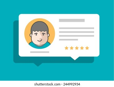 person leaving comment and rating, vector illustration