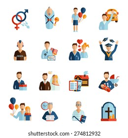 Person life stages and growing process icons set isolated vector illustration