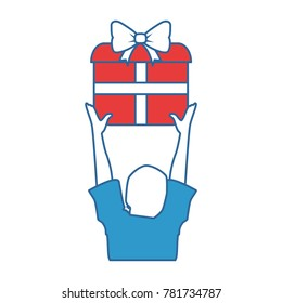 person lifting gift box icon