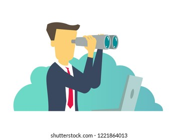 Person man looking through binoculars. Business search