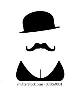person with mustache and cleavage wearing vintage bowler hat