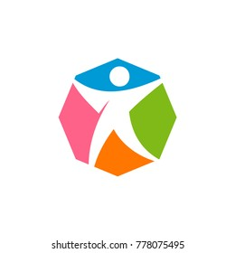 Person Octagonal Colorful Vector Logo