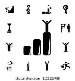 the person on the lifting chart icon. Detailed set of Sucsess and awards icons. Premium quality graphic design sign. One of the collection icons for websites, web design on white background
