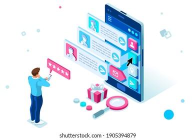 Person auf Smartphone chatting mit digitalem Client im Dienst für Chat. Zeichen auf flacher Vektorgrafik