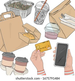 Person orders food online by phone and pays with a credit card. Paper bags, drinks, hot food and sandwiches in disposable packaging on a white background. Food delivery. Space for your text. Template