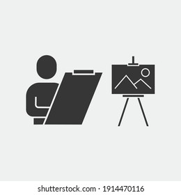 person painting vector icon drawing art board