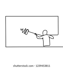 A person painting the wall using roller stick. one line drawing vector isolated on white background