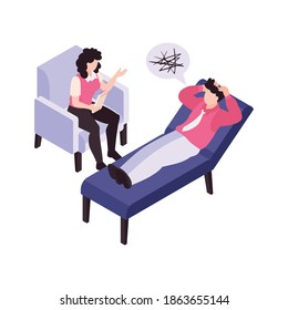 Person with panic attack has consultation with psychologist 3d isometric vector illustration