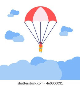 Person with parachute jumping vector icon, illustration for children book