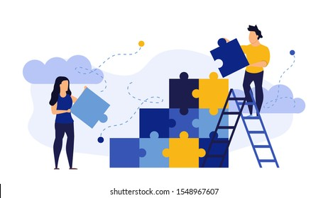 Person people man and woman connect jigsaw business puzzle flat background concept vector illustration. Cooperation businessman teamwork team. Solution partnership group problem together. Answer part