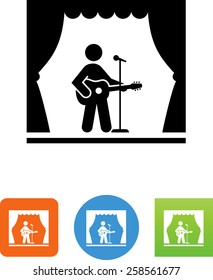 Person playing guitar on a stage icon