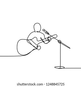 A person playing guitar and sing a song during a concert. One continuous line art drawing vector illustration isolated on white background.