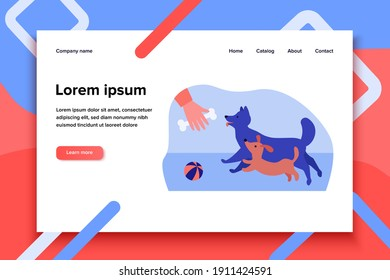 Person playing and training dogs outside. Toy, pet. Flat vector illustration. Dog handler concept can be used for presentations, banner, website design, landing web page