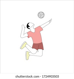 person playing volleyball simple flat isolated vector minimalist illustration