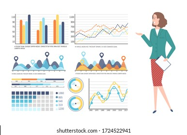 Person presenting business plan vector, woman with information on whiteboard, charts and info, data of business project, flowchart on presentation