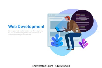 Person programmer working on laptop with program code on screen. Coding and programming vector concept. Illustration of web developer programming software