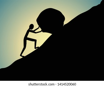 person pushing big stone up-hill, Sisyphus concept