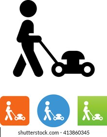 Person pushing a lawn mower icon