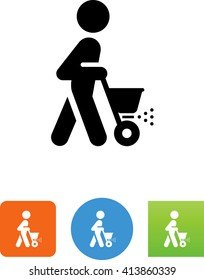 Person pushing a lawn spreader icon