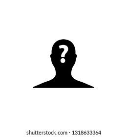 person with question mark. Male icon. Human face with question mark. Vector icon for website design, app.