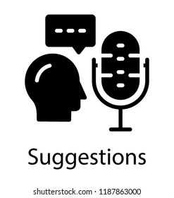A person with radio mic and speech bubble is icon for suggestions