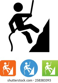Person rappelling down a rock face icon