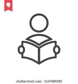 Person reading a book icon