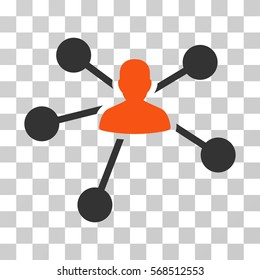 Person Relations icon. Vector illustration style is flat iconic bicolor symbol, orange and gray colors, transparent background. Designed for web and software interfaces.