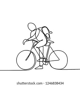 A person riding a bike. male boy using bicycle go to school. One line continuous lineart drawing vector illustration.