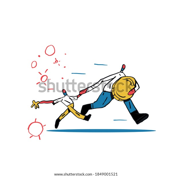 Person Run from virus with Money and his child. Minimalist virus around. Hand Drawn vector with primary color and bold black line, Clip art isolated on white,