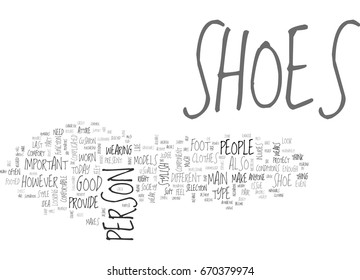A PERSON S SHOES AND HIS CHARACTER TEXT WORD CLOUD CONCEPT
