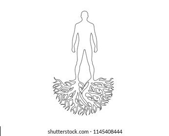 Person silhouette roots personality vector
