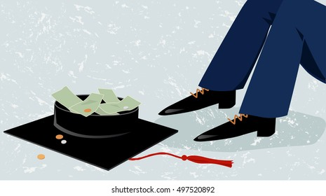 Person sitting on the street next to a college graduation cap, begging for money, EPS 8 vector illustration, no transparencies