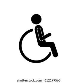 person sitting in wheelchair icon, vector illustration design