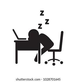 Person sleeping at desk vector icon. Vector illustration.