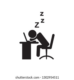 Person sleeping at work icon. Vector.