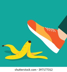 Person slipping on a banana peel flat design. EPS 10 vector.