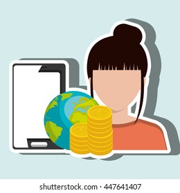 person with smartphone and money isolated icon design, vector illustration  graphic