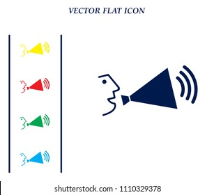 A person speaking in a megaphone, vector icon.