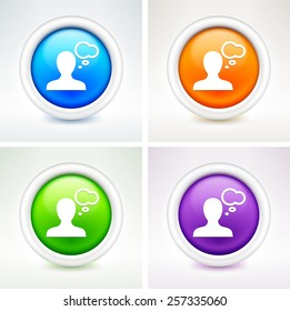 Person with Speech Bubble on Colorful Round Buttons
