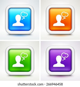 Person with Speech Bubble on Colorful Square Buttons