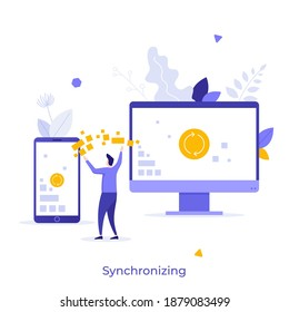 Person standing between smartphone and computer exchanging data. Concept of digital files synchronization, wireless technology for device syncing and information transfer. Flat vector illustration.