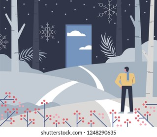 A person standing at the door of choice. flat design style vector graphic illustration.