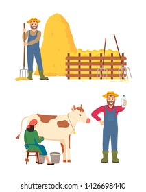 Person standing with hayfork vector, isolated man and woman milkmaid with cow, male showing bottle with milk organic beverage, hay dried grass bale
