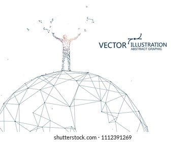 A person is standing on the sphere, conceptual graphic design.